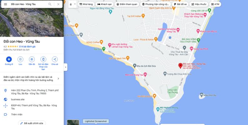 Tìm vị trí đường đi lên Đồi Con Heo Vũng Tàu dễ dàng trên Google Map