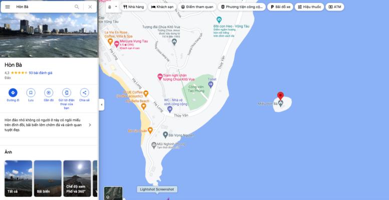 Vị trí đảo Hòn Bà Vũng Tàu trên bản đồ