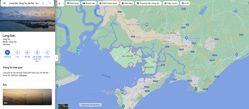 Xã đảo Long Sơn trên bản đồ