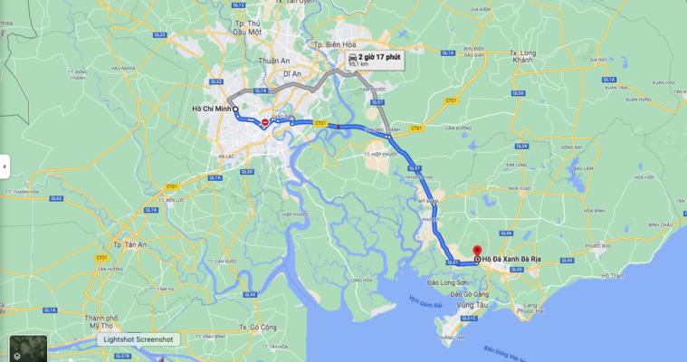 Đường đi Hồ Đá Xanh xuất phát từ TP Hồ Chí Minh